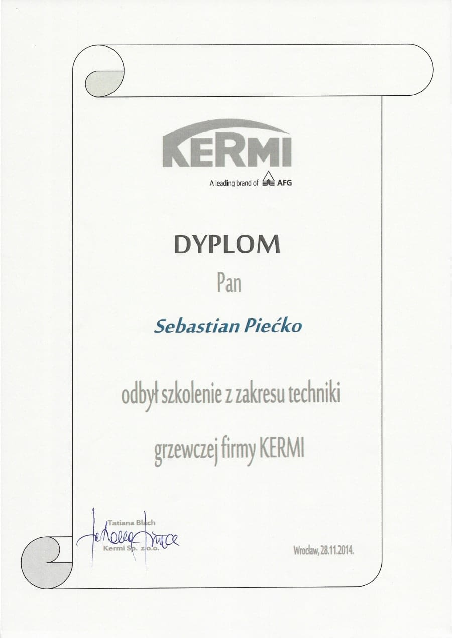 Certyfikat wystawiony wdniu 2014.11.28 przezKermi