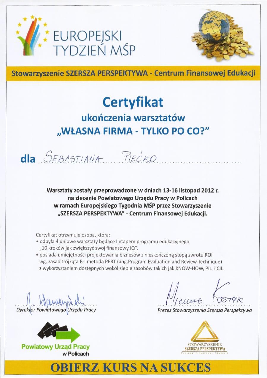 Certyfikat wystawiony wdniu 2012.11.13 przezPUP