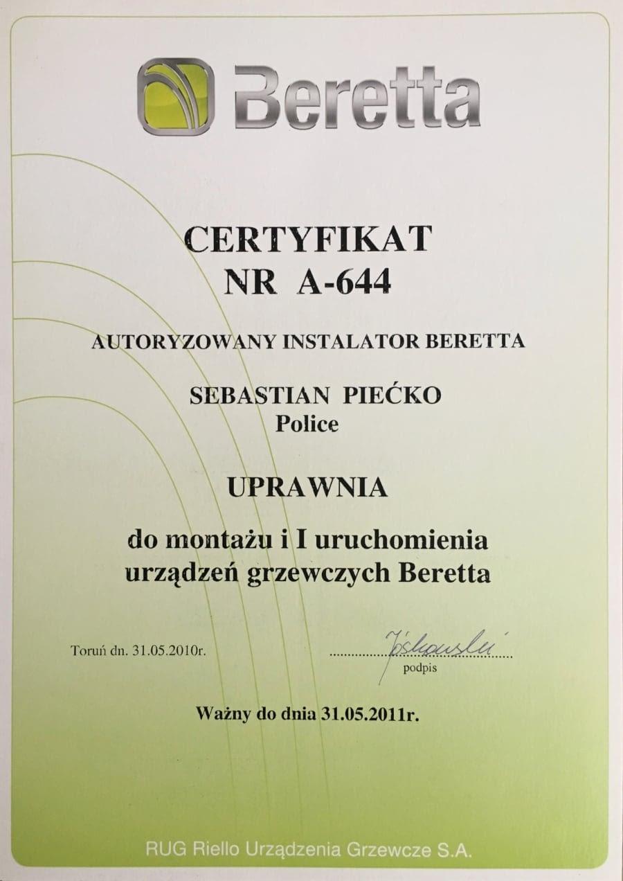 Certyfikat wystawiony wdniu 2010.05.31 przezBeretta