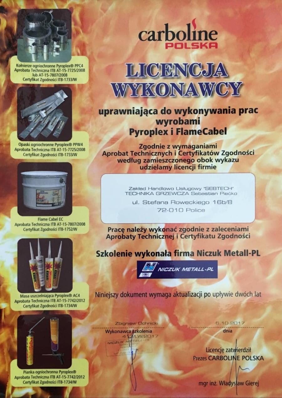 Certyfikat wystawiony wdniu 2017.10.06 przezCarboline