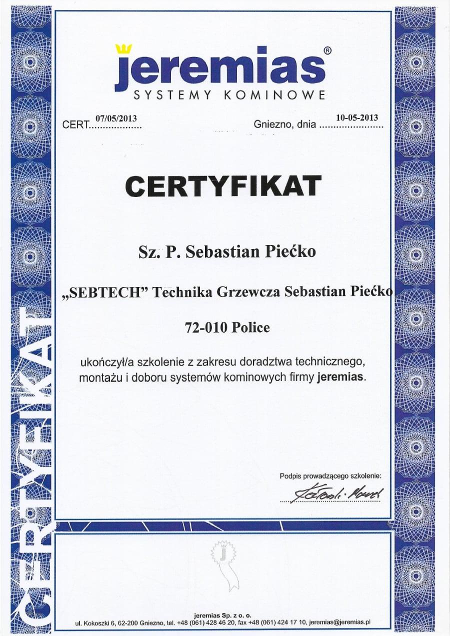 Certyfikat wystawiony wdniu 2013.05.10 przezJeremias
