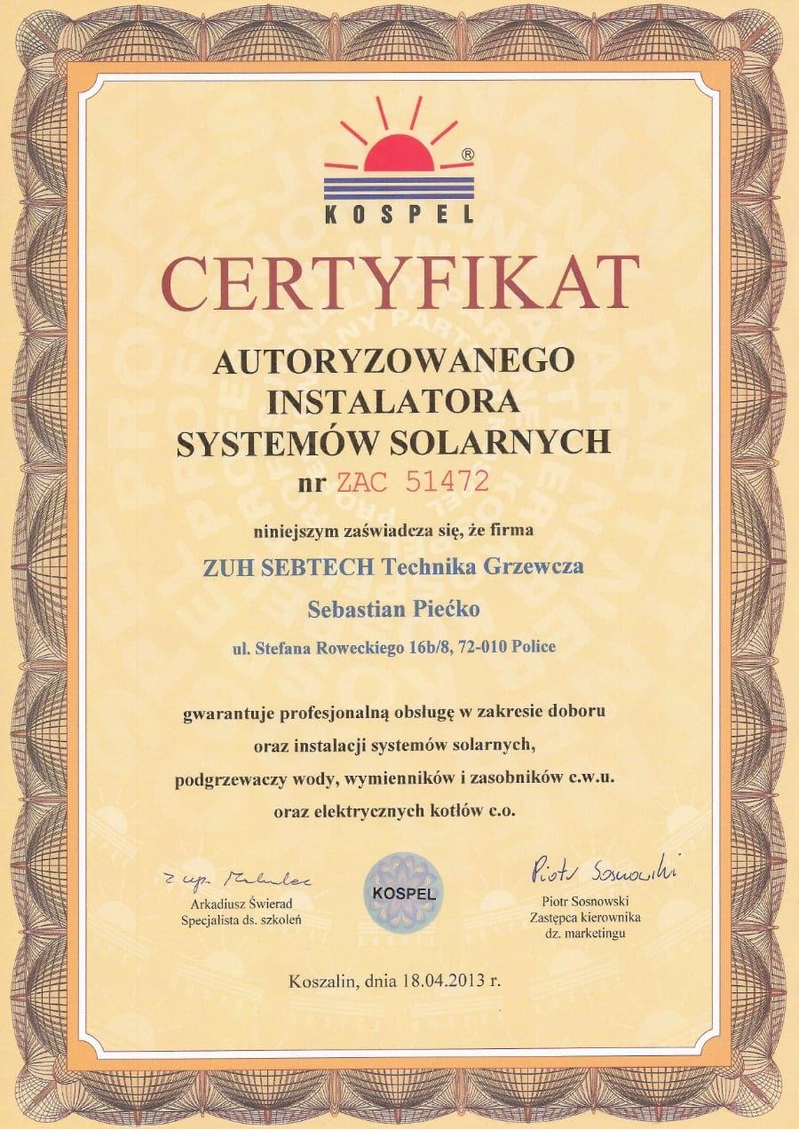 Certyfikat wystawiony wdniu 2013.04.18 przezKospel