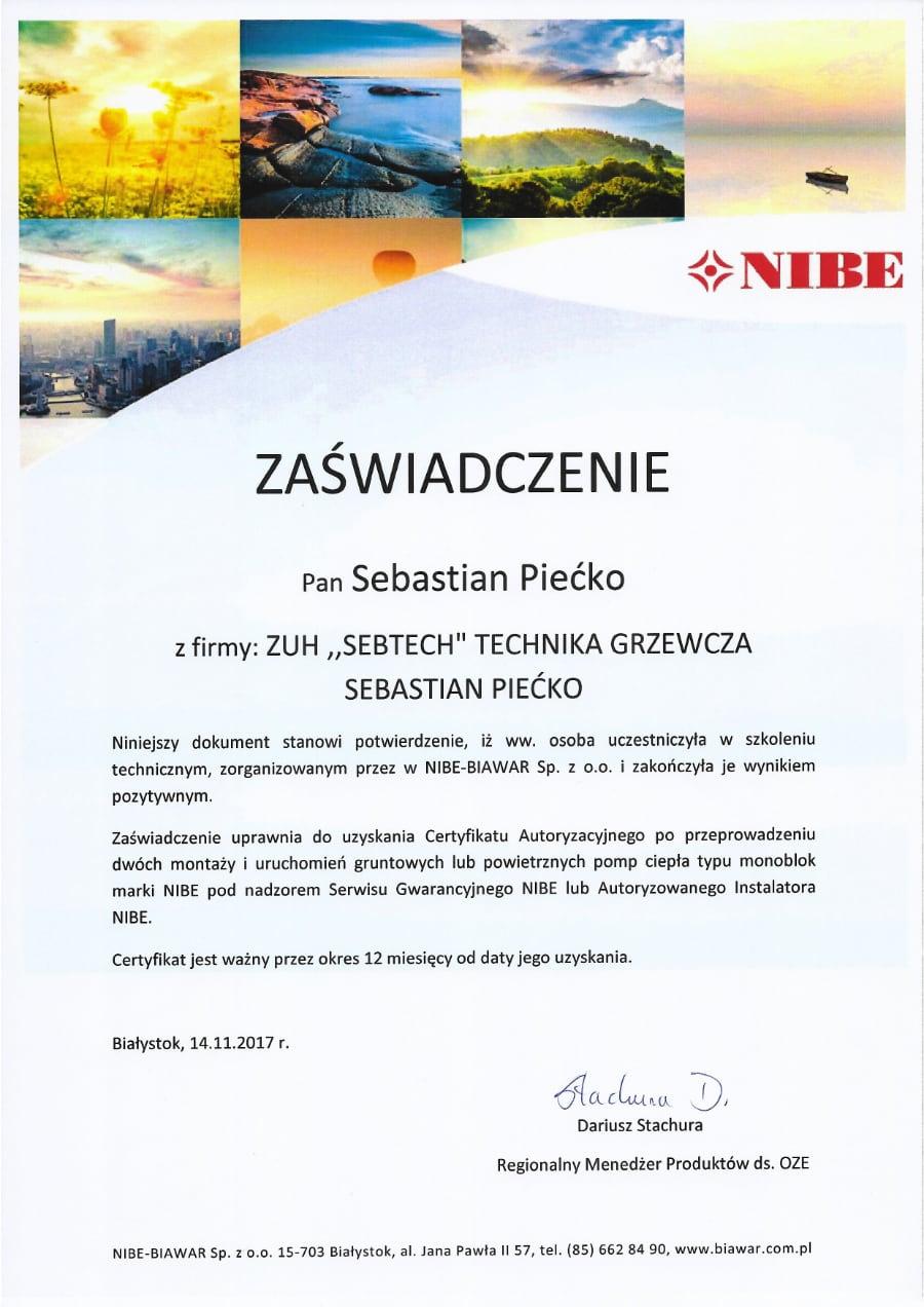 Certyfikat wystawiony wdniu 2017.11.14 przezNIBE