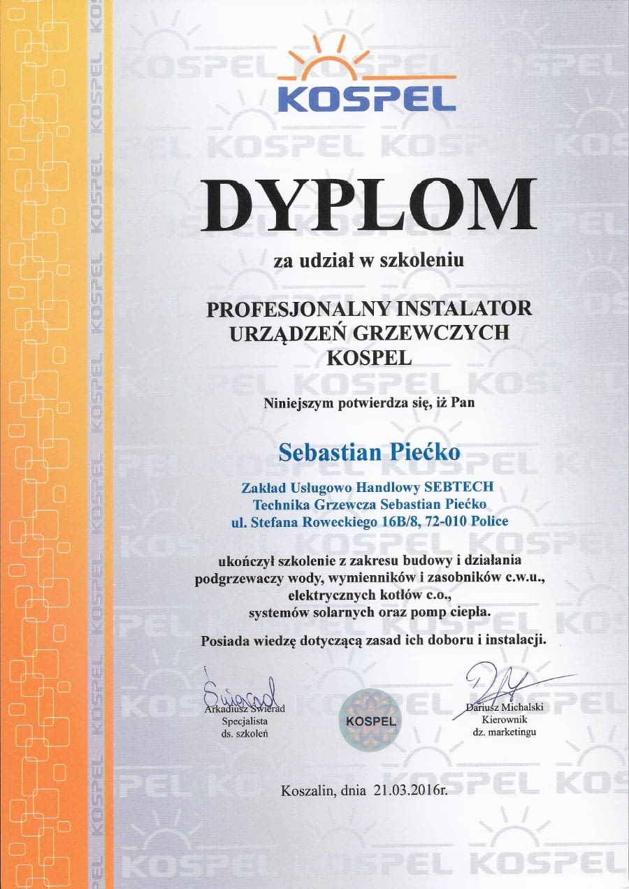 Certyfikat wystawiony wdniu 2016.03.21 przezKospel