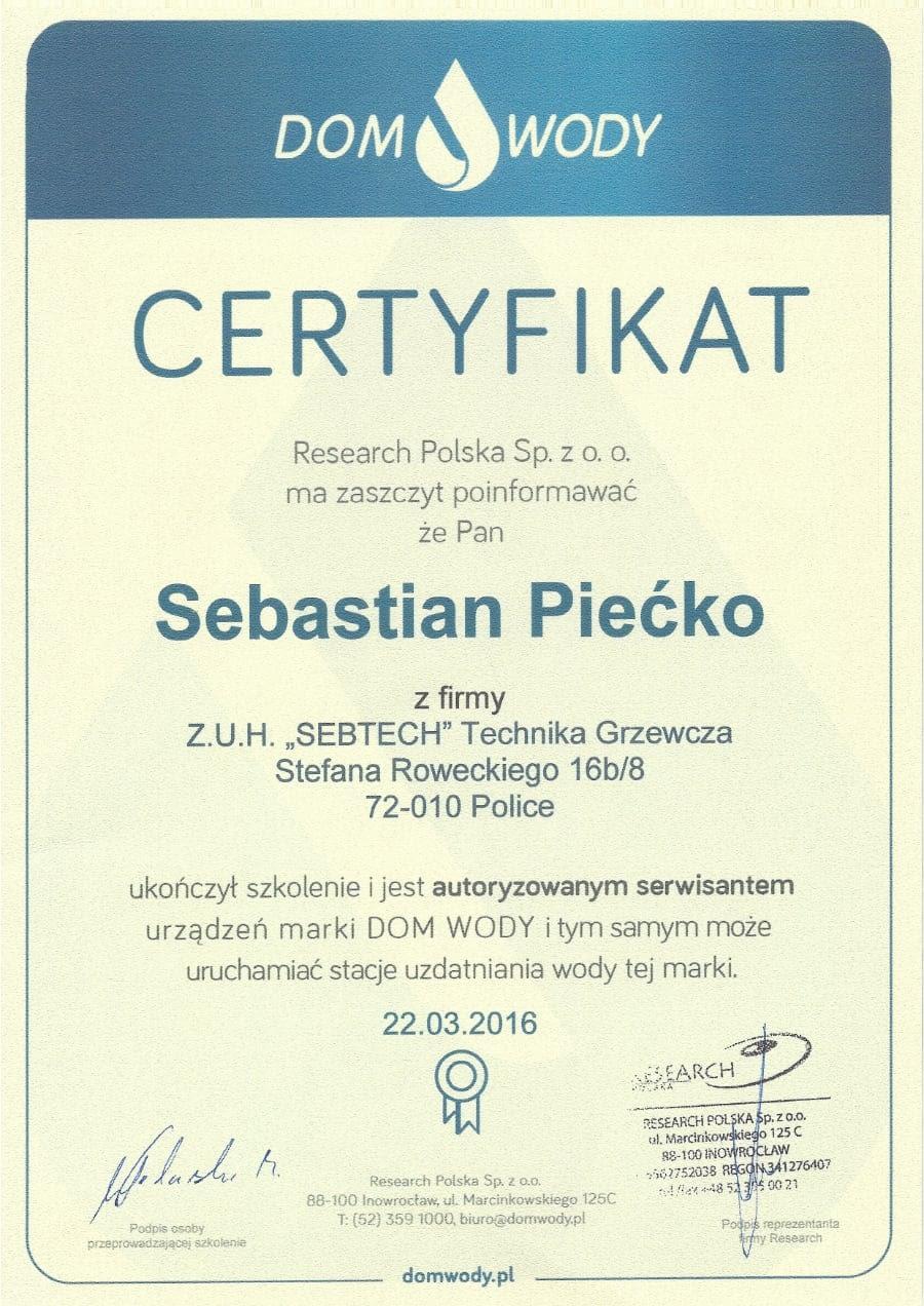 Certyfikat wystawiony wdniu 2016.03.22 przezDom Wody