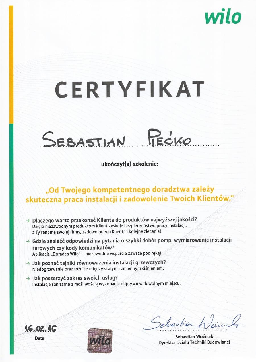 Certyfikat wystawiony wdniu 2016.02.16 przezWilo