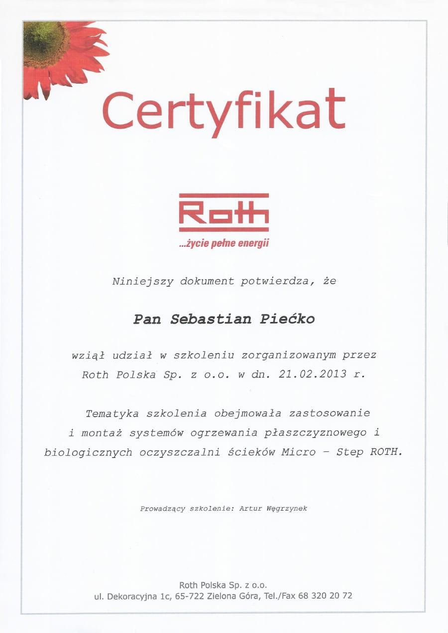 Certyfikat wystawiony wdniu 2013.02.21 przezRoth