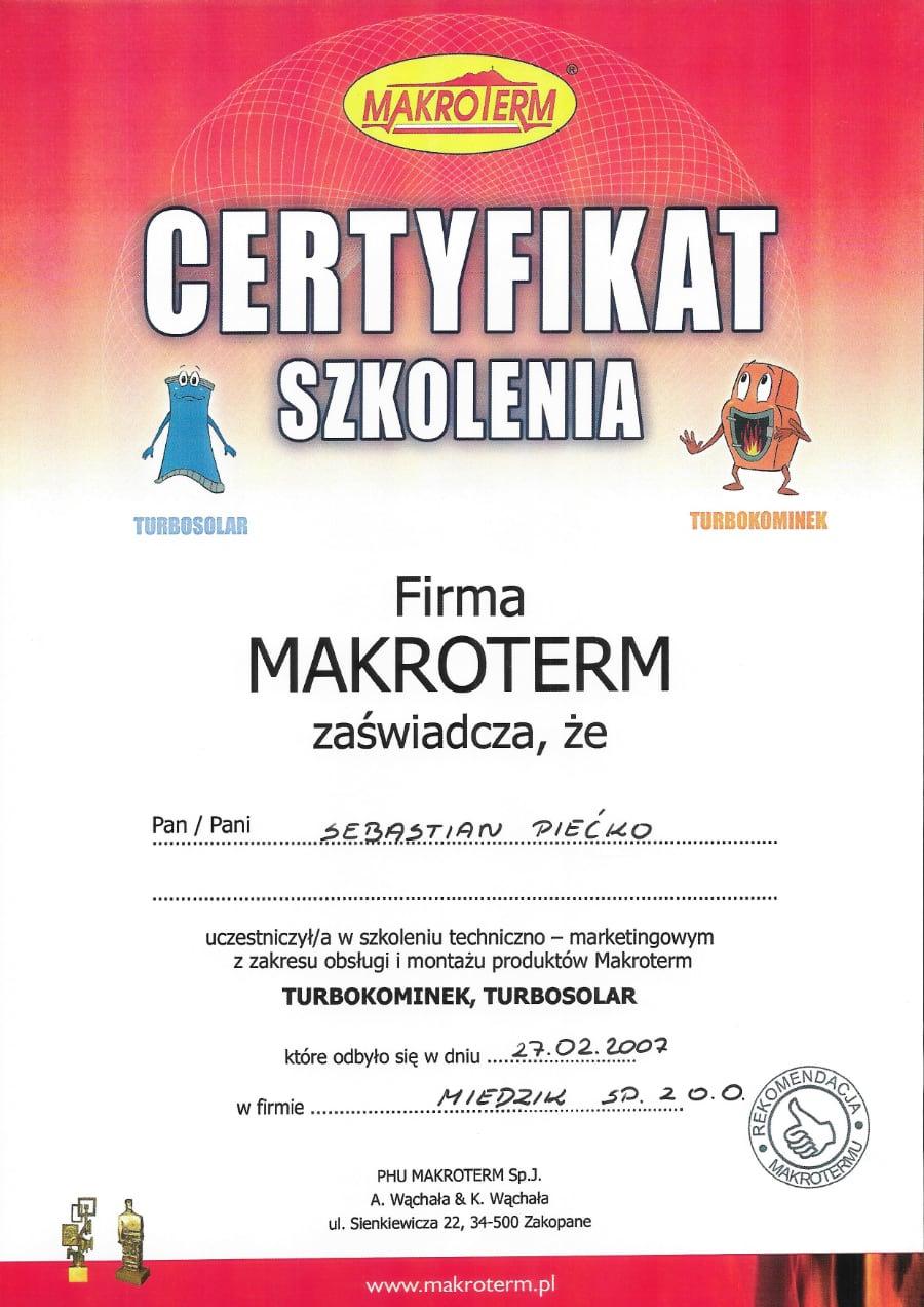 Certyfikat wystawiony wdniu 2017.02.17 przezMakrotech
