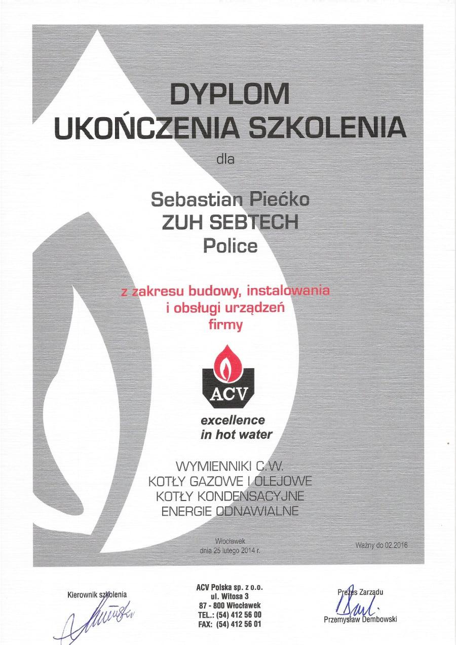 Certyfikat wystawiony wdniu 2014.02.25 przezACV