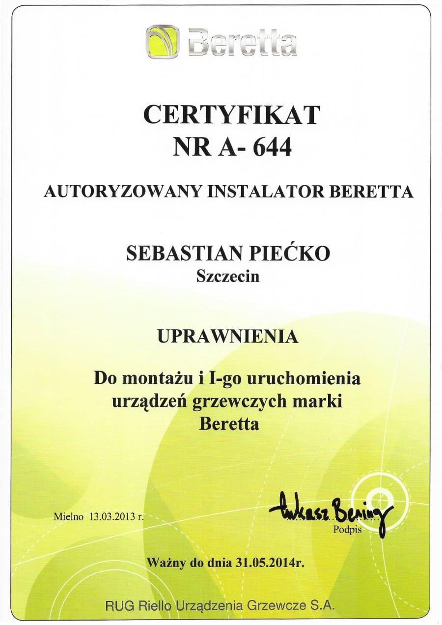 Certyfikat wystawiony wdniu 2013.03.13 przezBeretta