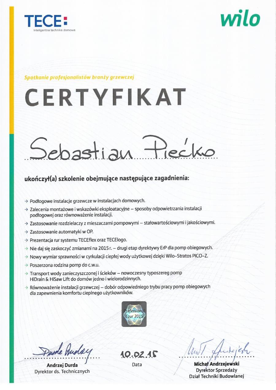 Certyfikat wystawiony wdniu 2015.02.10 przezTece Wilo
