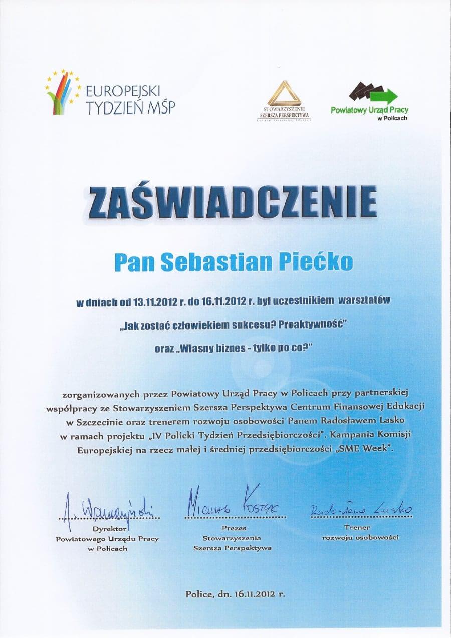 Certyfikat wystawiony wdniu 2012.11.16 przezPUP