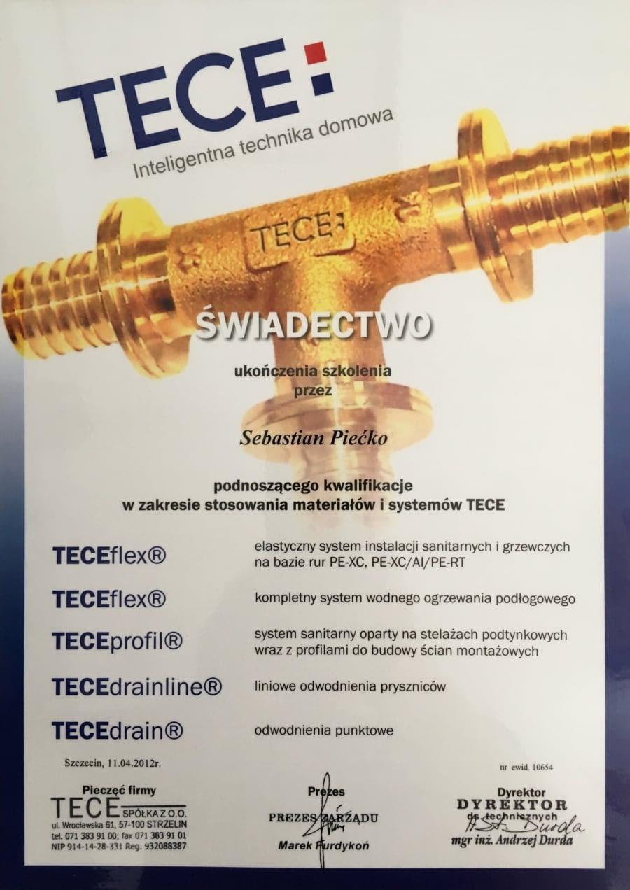 Certyfikat wystawiony wdniu 2012.04.11 przezTECE