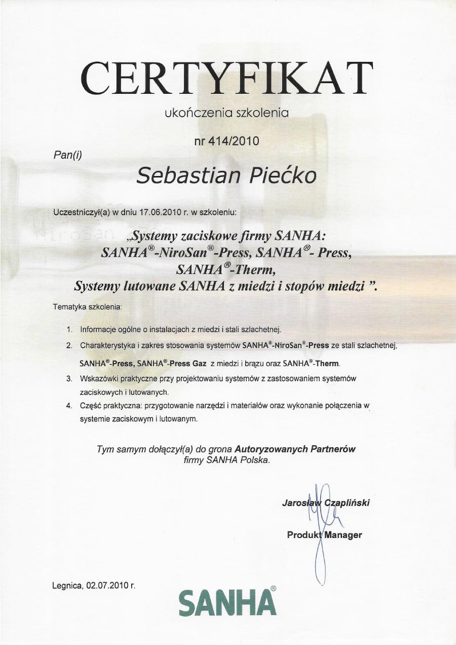 Certyfikat wystawiony wdniu 2010.07.02 przezSanha