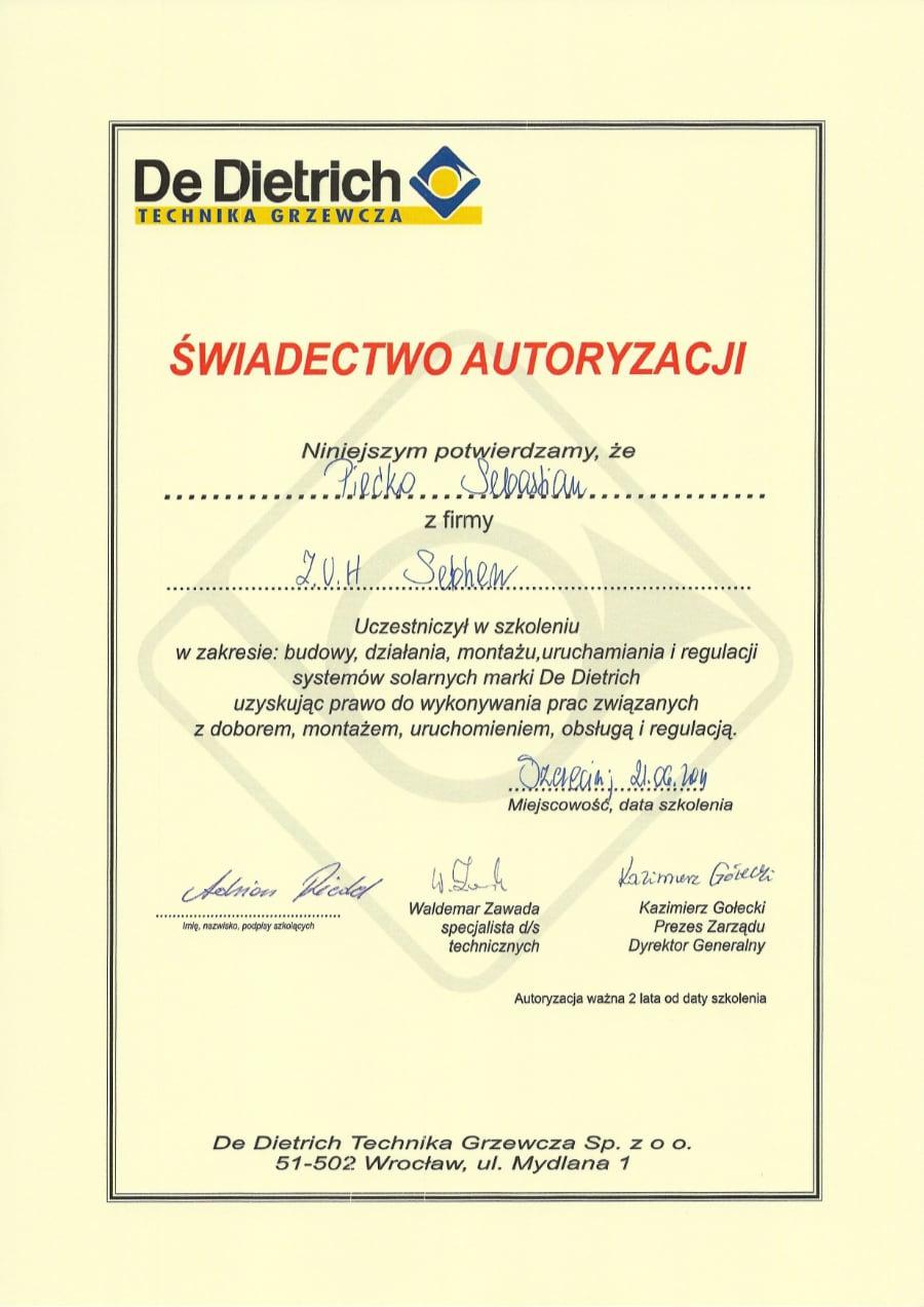 Certyfikat wystawiony wdniu 2011.06.21 przezDe Dietrich