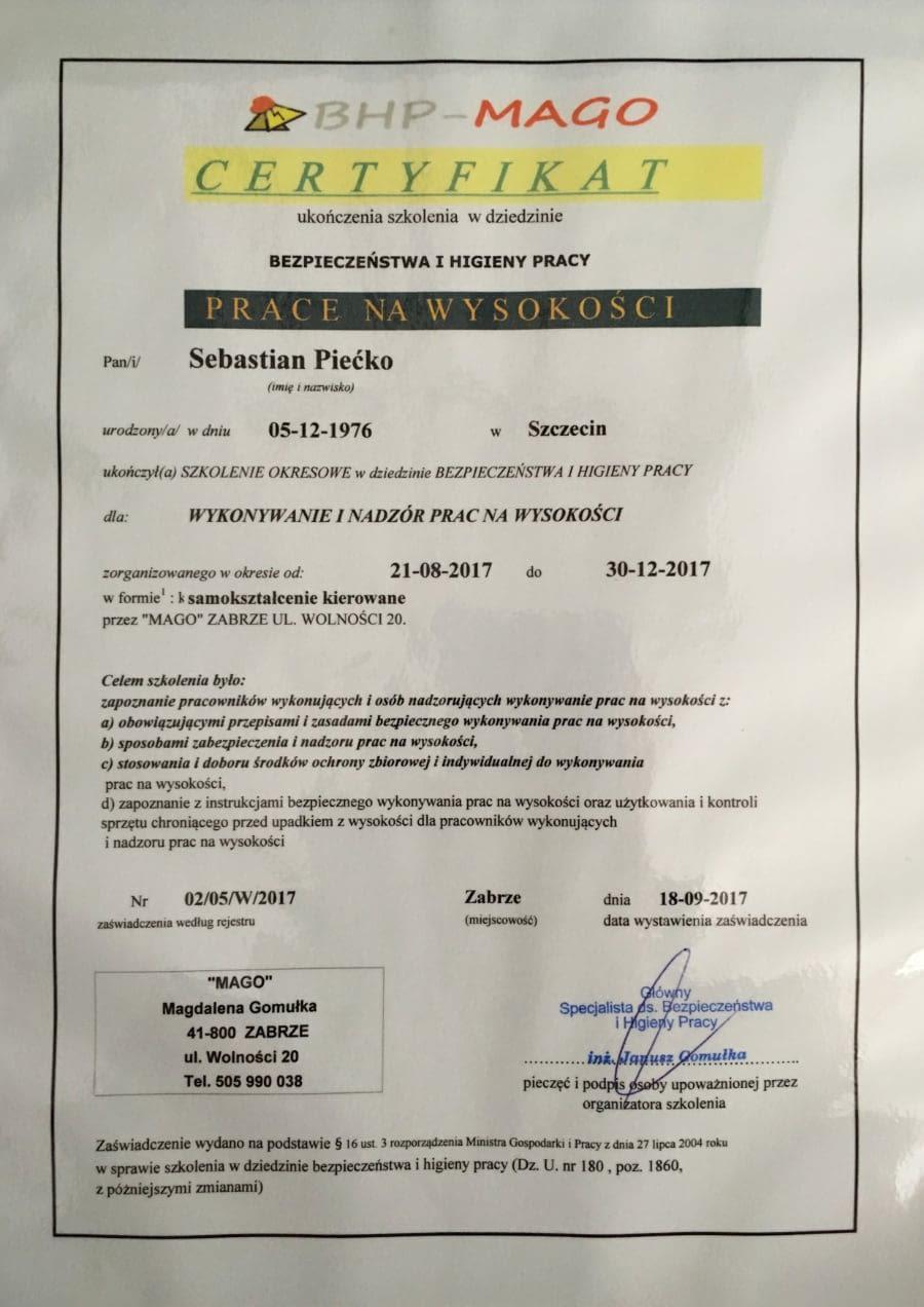 Certyfikat wystawiony wdniu 2017.09.18 przezMago