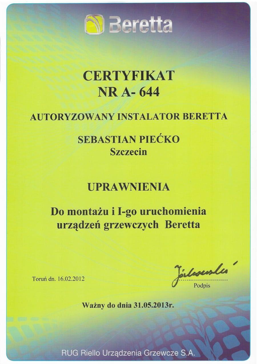Certyfikat wystawiony wdniu 2012.02.16 przezBeretta