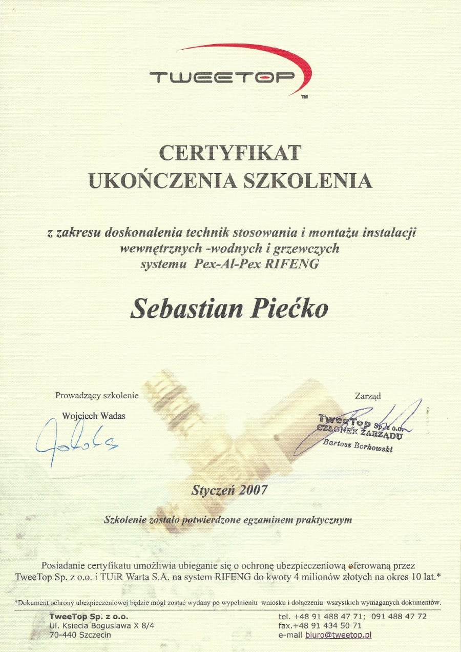 Certyfikat wystawiony wdniu 2007.01.01 przezTweetop