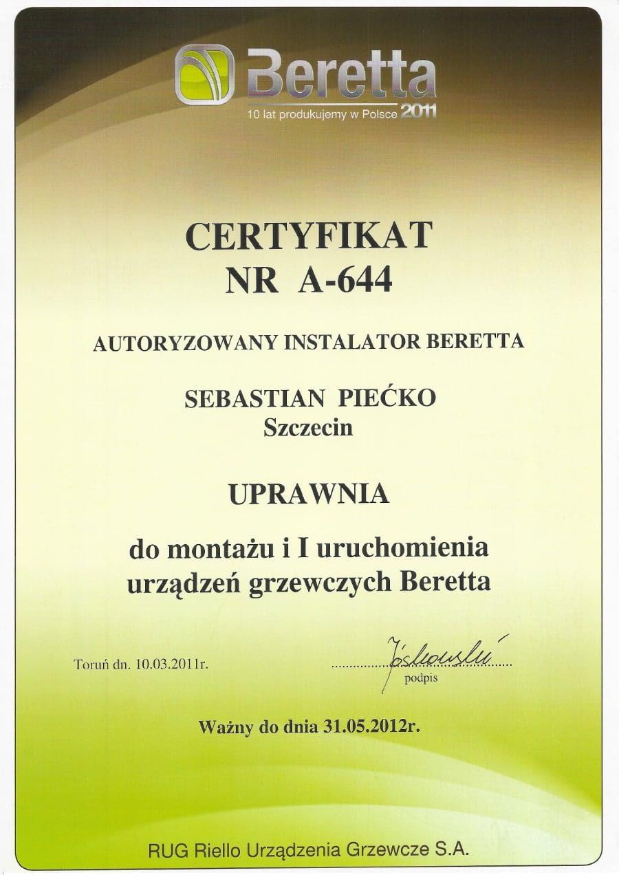 Certyfikat wystawiony wdniu 2012.05.31 przezBeretta