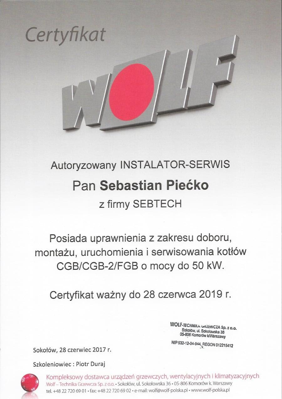 Certyfikat wystawiony wdniu 2017.06.28 przezWolf