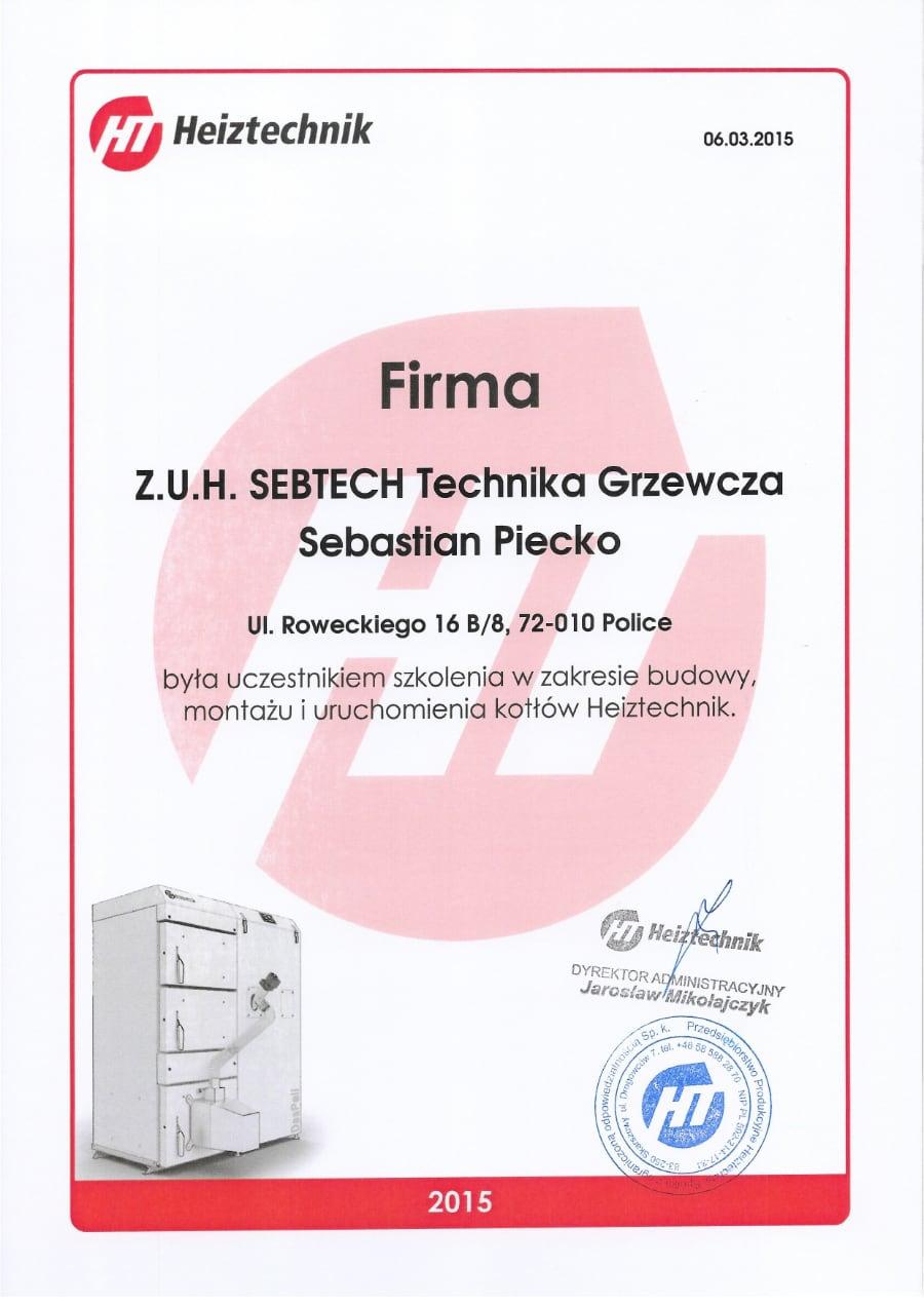 Certyfikat wystawiony wdniu 2015.03.06 przezHeiztechnik